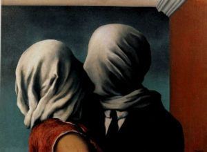 "René Magritte, 1928, oil: ""The Lovers"""